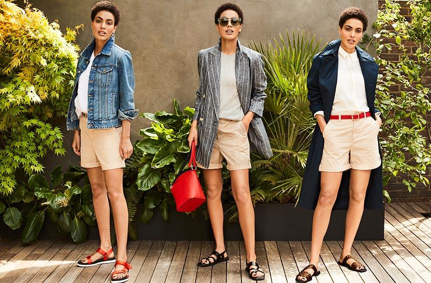 Woman wearing chino shorts, three ways