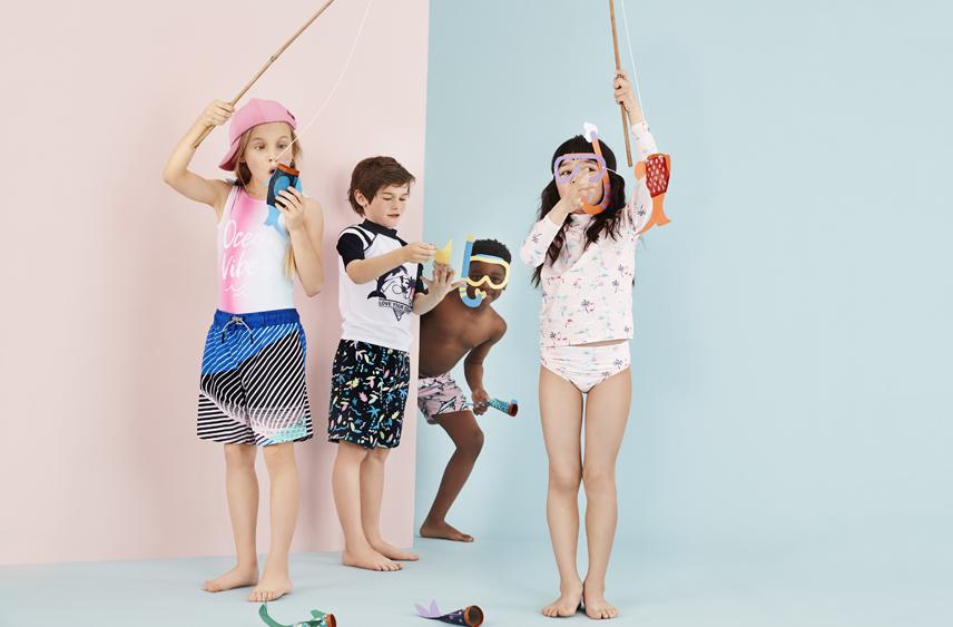 Kids wearing M&S swimwear