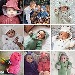 A collection of babies wearing the M&S baby cardigan with teddy bear ears