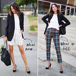 Influencer Amanda Miller wears a white T-shirt and black blazer with checked shorts, and a white T-shirt and black blazer with checked pants