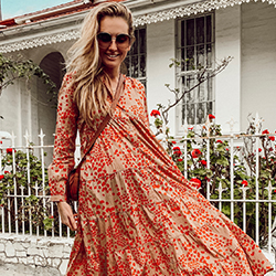 Marcia Leone wears a floral maxi dress